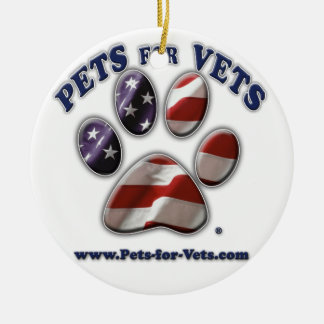 Pets for Vets Christmas Ornament (circle) Round Ceramic Ornament