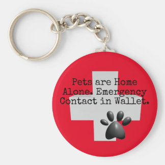 Pets Home Alone ICE Contact Keychain