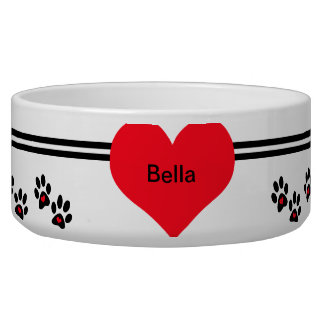 Pets Leave Footprints On Our Hearts Dog Food Bowl