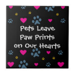 Pets Leave Paw Prints on Our Hearts Small Square Tile