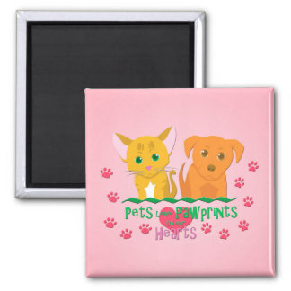 Pets Leave Pawprints on our Hearts Magnet