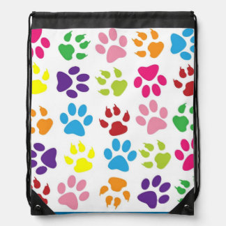 Pets paw print pattern drawstring backpack