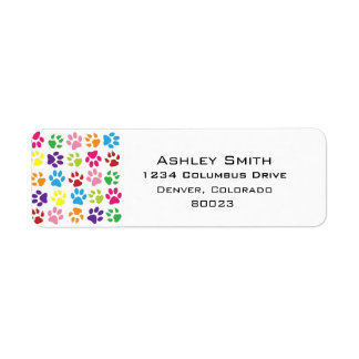 Pets paw print pattern label