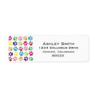 Pets paw print pattern label
