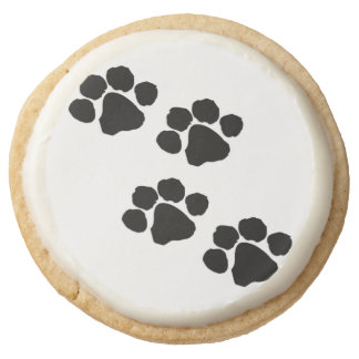 Pets Paw Prints For Animal Lovers Round Shortbread Cookie