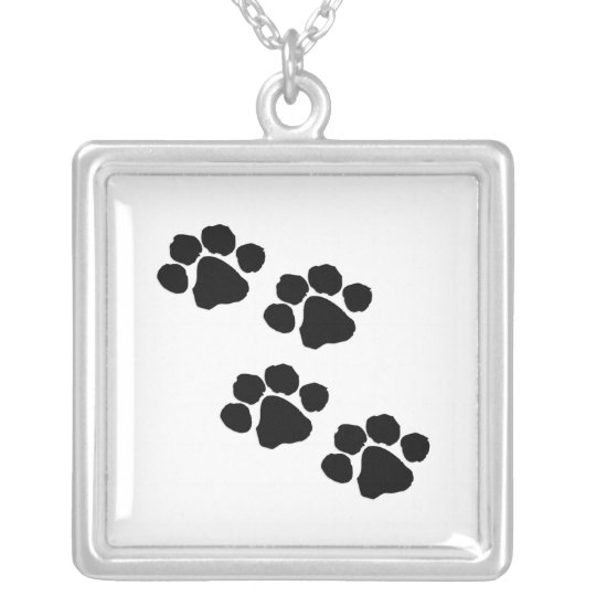 Pets Paw Prints Silver Plated Necklace