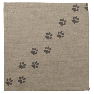 Pets Pawprints on Burlap Effect Design Cloth Napkin