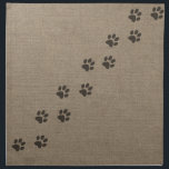 "Pets Pawprints on Burlap Effect Design Napkin<br><div class=""desc"">Pets Pawprints on Burlap Effect Design This is a simple design of a trail of black pawprints on burlap effect fabric. Designed by Lark Designs</div>"