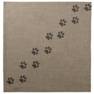 Pets Pawprints on Burlap Effect Design Napkin