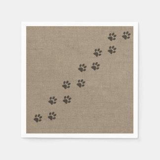 Pets Pawprints on Burlap Effect Design Standard Cocktail Napkin