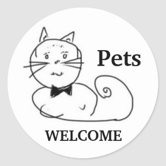 Pets Welcome Classic Round Sticker
