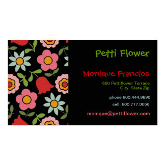 Petti Flower - Black - Business Card