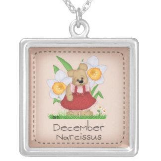 Pettibone Bear December Birth Flower Series Square Pendant Necklace
