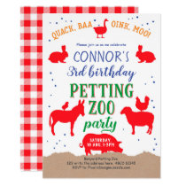 Petting zoo, Boy, Banyard Farm Animal Birthday Invitation