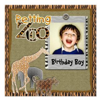 Petting Zoo wild safari Birthday Photo Invitation