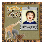 "Petting Zoo wild safari Birthday Photo Invitation 5.25"" Square Invitation Card"