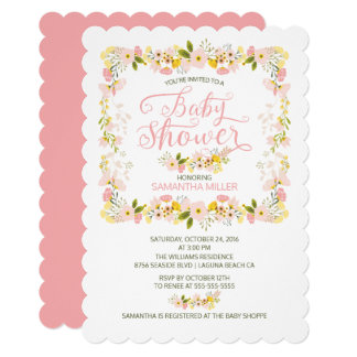 Petty Floral Frame Girls Baby Shower Card