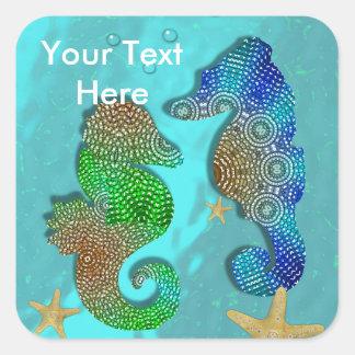 Petty Swimming Seahorses Personalized Square Sticker