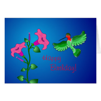 Petunia del feliz cumpleaños con el colibrí tarjeta pequeña