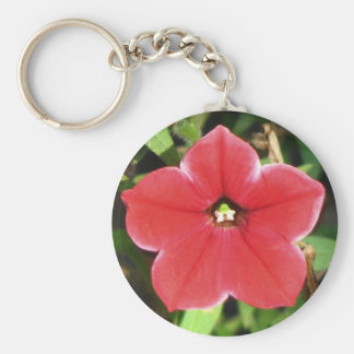 Petunia roja llavero redondo tipo pin