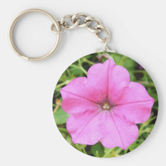 Petunia rosada bonita llavero redondo tipo pin