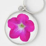 Petunia rosada llavero redondo plateado