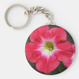 Petunia rosada llavero redondo tipo pin