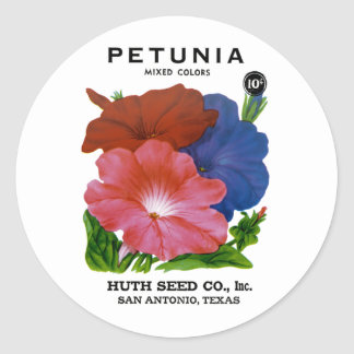Petunia Vintage Seed Packet Classic Round Sticker