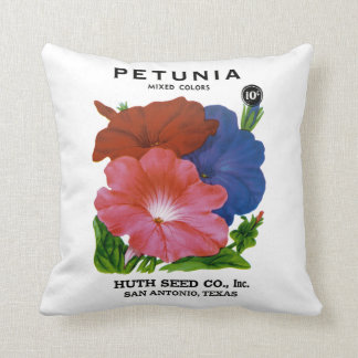 Petunia Vintage Seed Packet Throw Pillow