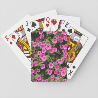 Petunias and lawn playing cards
