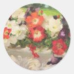 Petunias bonitas por los diseños de Margaret Aycoc Pegatinas