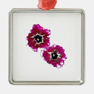 Petunias del verano adorno cuadrado plateado