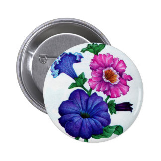 petunias in blue and pink 2 inch round button