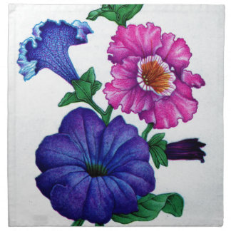 petunias in blue and pink napkin