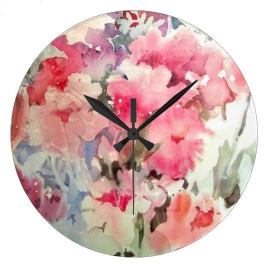 Petunias Large Clock