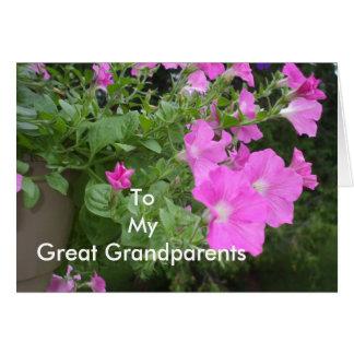 Petunias para grande - abuelos tarjeta de felicitación