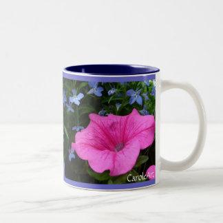 Petunias Pink Blue Lobelia Two-Tone Coffee Mug