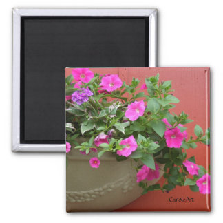 """""""Petunias Pink Red Wall"""" Magnet"""