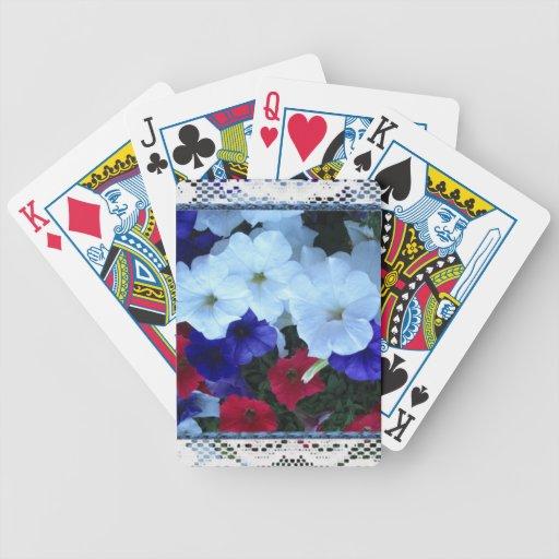 Petunias y cordón patrióticos baraja cartas de poker