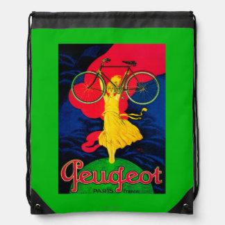 Peugeot Bicycle Vintage PosterEurope Drawstring Bag