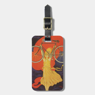 Peugeot Bicycles Bike Woman Paris Artistic Ad Luggage Tag