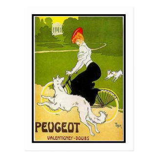 Peugeot Woman with Dog Postcard