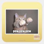 Pew pew pew square sticker