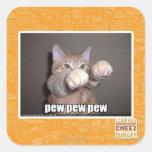 Pew pew pew square stickers