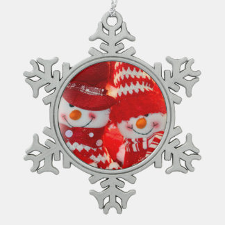 Peweter Snowflake Ornament/Snowman Happy Couple