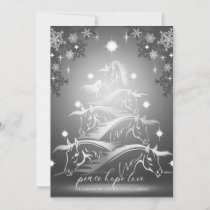 Pewter Abstract Christmas Horses Holiday Card