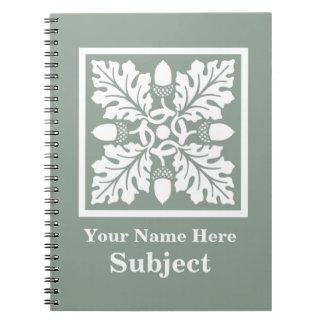 Pewter Acorn and Leaf Tile Design Spiral Notebook