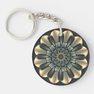 Pewter and Ivory Double-Sided Round Acrylic Keychain