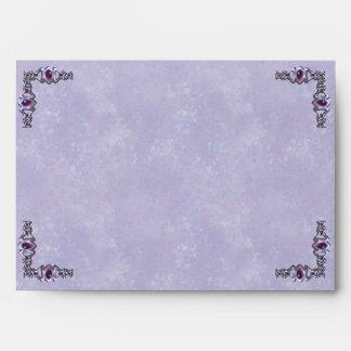 Pewter and Purple Jewel Wedding Envelope