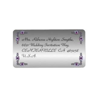 Pewter and Purple Jewel Wedding Label